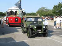 Staging - UA Local 119 trolley and Armed Forces Jeep.