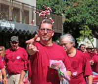 Eddie Sellew, a member (Business Mgr.) of Plumbers & Pipefitters Local 119, throws candy during the Labor Day Parade Monday Sept. 2, 2013 in downtown Mobile, Ala. (Bill Starling/bstarling@al.com)